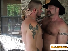 Mature bear Marc Angelo gets cocksucked
