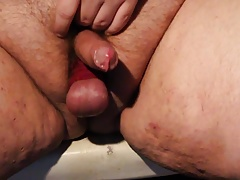 Tinycock and tied balls orgasm
