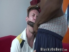 A gay bitch gets his mouth and ass fucked deep by black dude