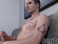 Gorgeous soldier Phillip Fox jerking his big long fat cock