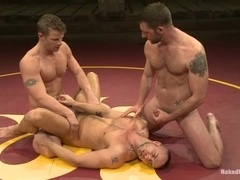 Three nude gays struggle on tatami and bang ardently afterwards