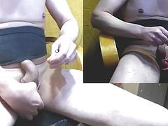 2 needles crossing bag of balls tied and masturbation ejacul