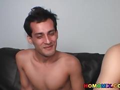 Amateur dude tastes black cock