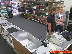 Straight pawnshop client buttfucked for cash