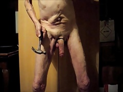 Cock and ball beating with cum