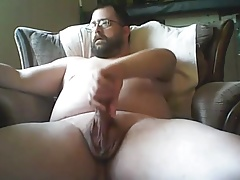 exposed covering my beard with my cum