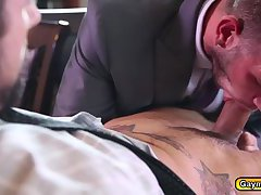Stroking that big dick deep throat in suits and goes on top