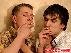 Smoking twink making out with his BF before bareback