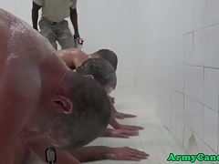 Ginger soldier drills black ass in the shower