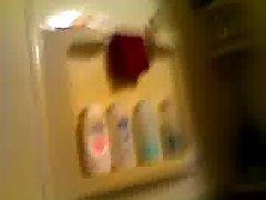 Stunning taking shower & dildo using