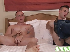 Scott lays back for a hard pounding from James angry cock