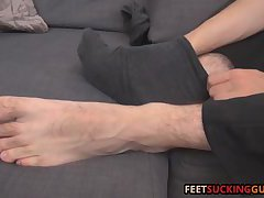 He rubs the soles of his feet and each individual toes