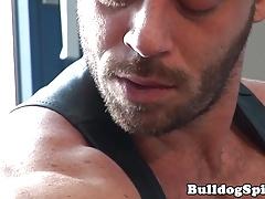 Masculine leather hunk wanks hardcock solo