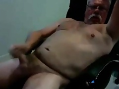 Muscle grandad stroking and shooting
