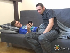 Twink caught watching friend's naked pics
