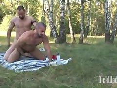 Nasty Threeway Ass Fucking Outdoor