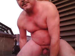 Joey D on rooftop outside anal dildo in curvy round ass