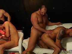 Bisex hunks face creamed