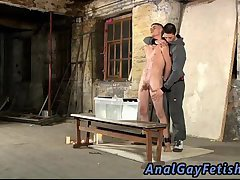 Hogtied guy gets waxed