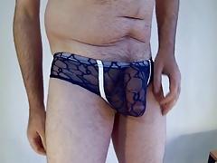 blue lacy bikini brief