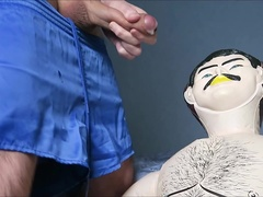 Male doll fuck with Adidas shorts on