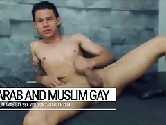 Happy gay slave to an Arab master