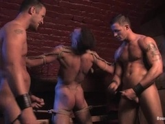 Three handsome gays enjoy playing BDSM games indoors