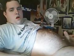 Big belly bear wanking on bed