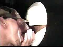 Throat workout through gloryhole