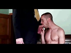 Toned gay guy sucks on suited gay guys thick big cock