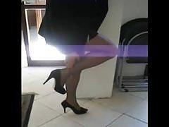Crossdressed in new sheer black pantyhose