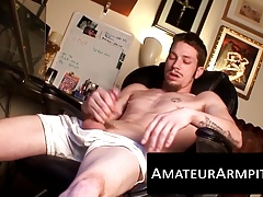 Slim hairy dude was waiting all day to unload his jizz