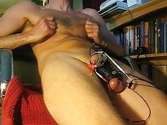 E-stim hands free orgasm in slo-mo
