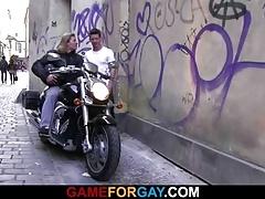 A guy seduces hunky biker into gay sex
