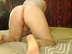 White Bubble Butt Spanking himself on webcam
