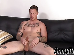 Tattooed soldier Dane Stewart wanking his fat cock at home