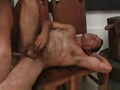 Boy getting down and dirty a huge daddy bear