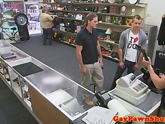 Pawnshop amateur assfucked with gimp in trio