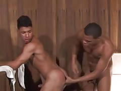 Brazilian duo fucking in the sauna