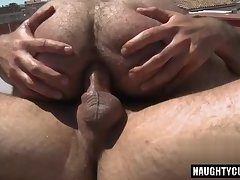 Hairy gay oral sex with facial