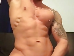 Muscle riding dildo and cum
