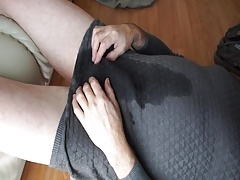wet grey dress