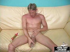 Blond guy tries a penis enlargement