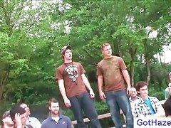 Extreme farm gay hazing outdoors