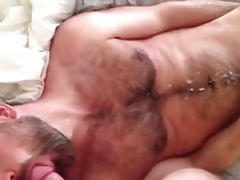 Buddy shoots a nice load while sucking me