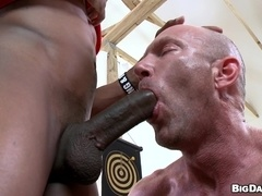 Bald gay daddy Jason Rock gets his ass pounded by black stud Izzy