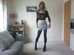 Little micro skirt, stockings and heels
