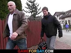 Hetero guy opens his back door for gay cock