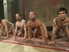 A few kinky gay bitches get their butts toyed in a hot BDSM video