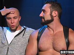 Muscle bear spanking and cumshot